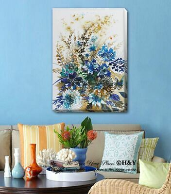 Blue Flowers Abstract Stretched Canvas Print Framed Wall Art Home Office Decor 2