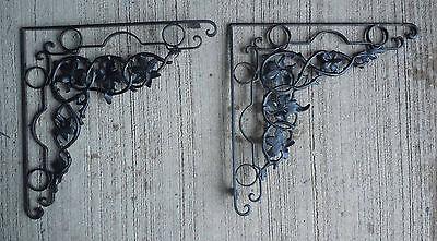 """Vtg 2 pc Shelf Brackets Cast Iron & Rolled Steel  20"""" x 20"""" Ornate Floral Black 2 • CAD $251.22"""