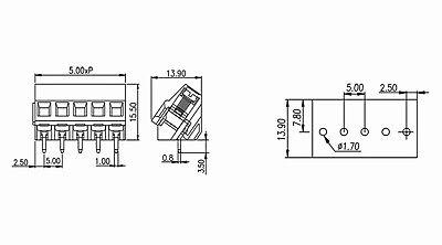 "50pc PCB Barrier Terminal Block T34-BO14-08 8P 0.374/"" 9.5mm 20A 300V UL DECA"