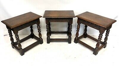 # Set 3 Antique Victorian Carved Oak Joint Stools Occasional Tables Lamp Stands 2