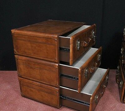 Pair English Leather Campaign Bedside Chests Nightstands Furniture 8