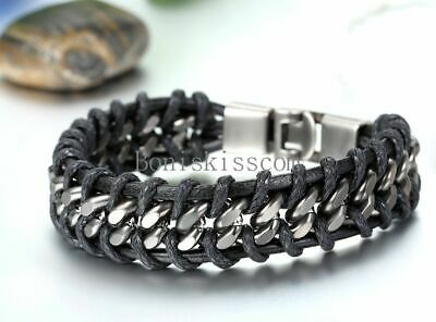 Black Braided Leather Silver Stainless Steel Cuban Chain Men's Bracelet Bangle 4