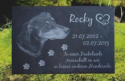 Rottweiler GRABSTEIN Tiergrabstein Gedenkstein Hund 016 ►Textgravur◄ 20 x 15 cm