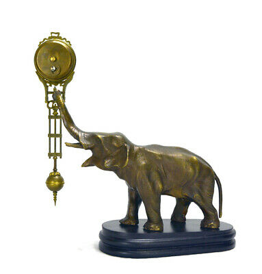German Style Junghans Brass Elephant Figure 8 Day Swinging Swinger Clock 3