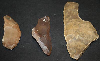 6 Egyptian Faiyum Predynastic Flint Flaked Hand Stone Tools 7400-6400 BC #19
