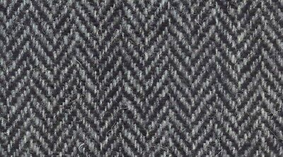 Harris Tweed Fabric Grey and Black Herringbone Pure Wool Various Sizes With Authenticity Labels