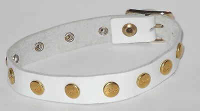 Original Steiff Zubehör Lederarmband Halsband mit Steiff Knopf Braun