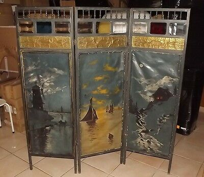 ANTIQUE FRENCH 1900 oil paint canvas 3 Wood Panel Screen Room
