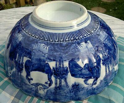 "Large Antique Japanese Imari Porcelain Bowl Scalloped Rimmed Meiji Period 13""dia 3"