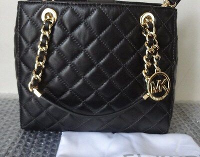 03fb0fe13c ... NWT Michael Kors Susannah Small North South Tote Quilted Leather Black   328+tax 12