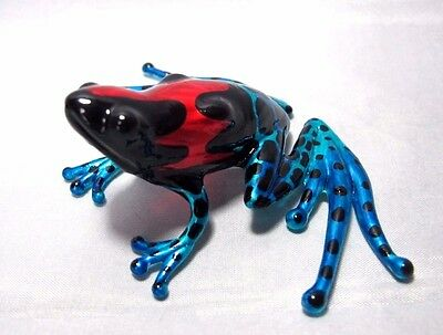 Lampwork Frog Hand Blown Glass Painted Miniature Art Animal Collectible Figurine
