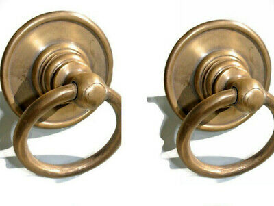 """2 medium round handle ring pull solid brass heavy old vintage OLD style DOOR 3""""B 3"""