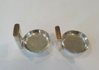 Pair Vintage Sterling Silver Individual Ashtrays with Match Holder 2