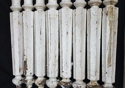 Architectural Salvage Tall Wooden Octagon Shaped Spindle Balusters Set of 8 3