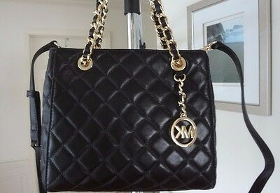 f4aa6a657e ... NWT Michael Kors Susannah Small North South Tote Quilted Leather Black   328+tax 3