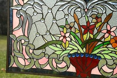 "34.75""L x 20.75""H Tiffany Style Beveled stained glass window panel Flower 8"