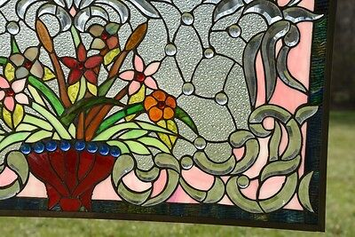 "34.75""L x 20.75""H Tiffany Style Beveled stained glass window panel Flower 10"