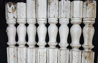 Architectural Salvage Tall Wooden Octagon Shaped Spindle Balusters Set of 8 4