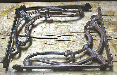 4 Cast Iron Antique Style VICTORIAN SCROLL Brackets Garden Braces Shelf Bracket 2