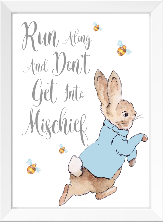 Peter Rabbit Nursery Quote Newborn Baby Christening Gift Keepsake A4 Frameless