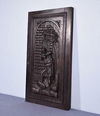 *Large French Antique Deeply Carved Architectural Panel Door Solid Oak Romantic 2