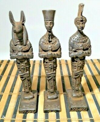 3 Rare Pharaonic statues of King Anubis, King Ramses and Queen Nefertiti 8