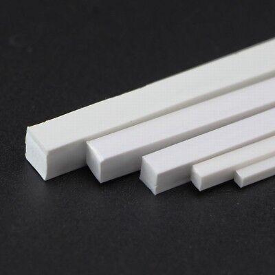 White ABS Styrene Plastic Strip Tube Round Bar Rods Square Bar Rod 250mm Length 4