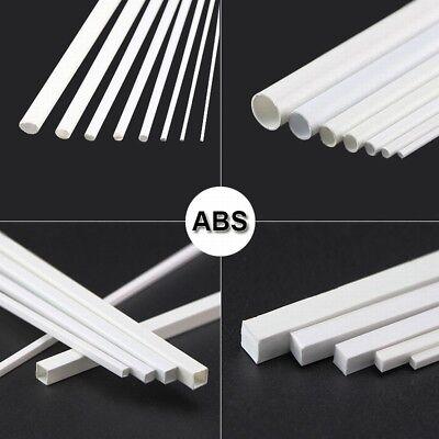 White ABS Styrene Plastic Strip Tube Round Bar Rods Square Bar Rod 250mm Length 6