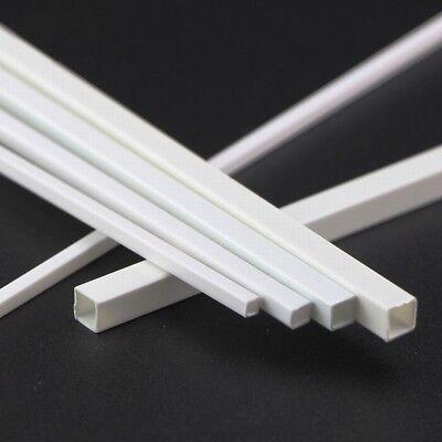 White ABS Styrene Plastic Strip Tube Round Bar Rods Square Bar Rod 250mm Length 5