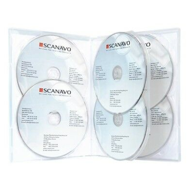 5 x PREMIUM Sextuple Clear DVD Case Holds 6 Disc Six DVD Cover 14mm Pivot Tray 4