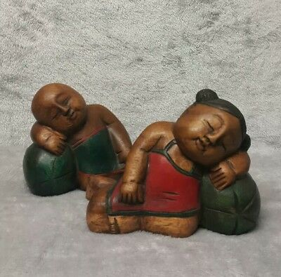 Large Antique/ Vintage Chinese c.20th Hand Carved Wooden Figurine Girl with Boy 10