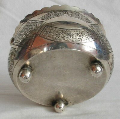 Islamic Middle Eastern Silver Sugar Bowl Mamluk revival style .84 silver nice 4