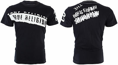 TRUE RELIGION Mens T-Shirt STENCEL GRAPHIC Black with White Print $69 Jeans NWT 3