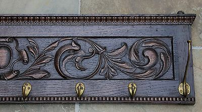 Antique French Oak Coat Hat Rack Entry Hall Tree LARGE Copper Pot Rack Kitchen