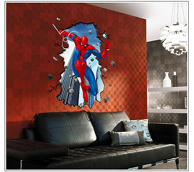 Super Cool Spider-man Mural Art PVC Wall Decal Sticker Kids Room Decor 54*40cm