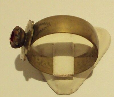 VINTAGE NICE BRONZE RING WITH RED STONE FROM THE EARLY 20th CENTURY # 909 3