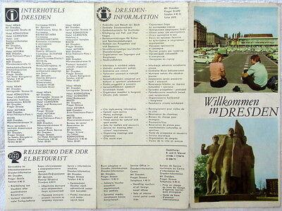 Willkommen in Dresden Flyer mit stilisiertem Stadtplan 1976 DDR