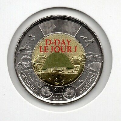 2019 Canada 75th Anniversary D-Day DDAY $2 Coloured Toonie WW2 WWII UNC Color 2