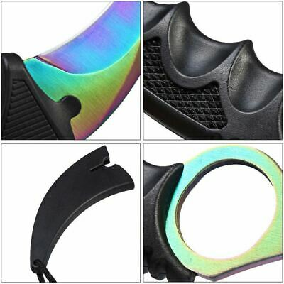 Outdoor KARAMBIT NECK KNIFE Survival Hunting Fixed fade colourful Blade + Sheath 7