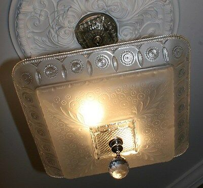 Antique large square frosted glass art deco custom light fixture chandelier 7