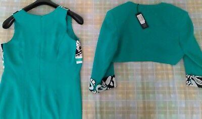 ABITO TUBINO E giacca cerimonia donna verde smeraldo bianco