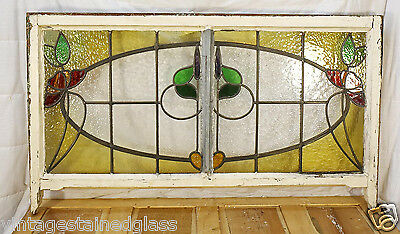 Large Antique Stained Glass Stunning Eight Color Floral                   (2755) 4