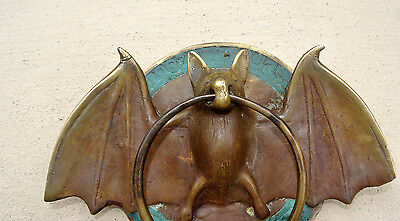 "Door Knocker BAT ring old heavy front SOLID BRASS vintage antique style 7"" B 3"