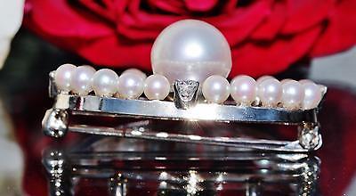 1930's 14k white gold pin brooch 9mm pearl & 0.50ct diamond antique handmad 5.9g 3