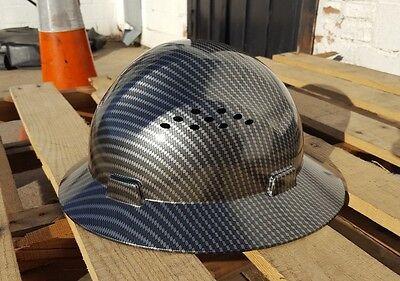 Carbon Fiber Hydro Print Full Brim Hard Hat Added Air Vents ANSI/ISEA Z89.1