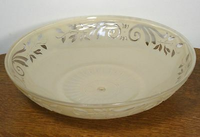 Large Antique ART DECO Round Ceiling Lamp Shade. Molded Glass Chandelier RARE 6