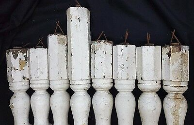 Architectural Salvage Tall Wooden Octagon Shaped Spindle Balusters Set of 8 5