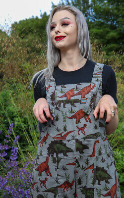 Run And Fly Adventure Dinosaur Grey Cord Corduroy Baggy Dungarees Overalls 4