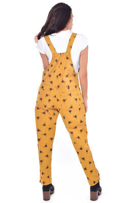 Run And Fly Stretch Twill Yellow Gold Bee Unisex Baggy Dungarees Overalls 2