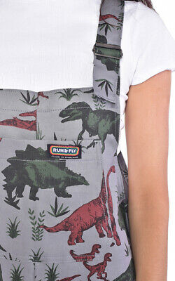 Run And Fly Adventure Dinosaur Grey Stretch Twill Baggy Dungarees Overalls 3